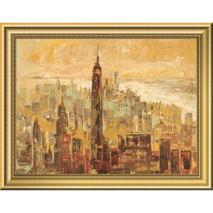 'Tramonto su Manhattan' Framed Oil Painting Print by East Urban Home