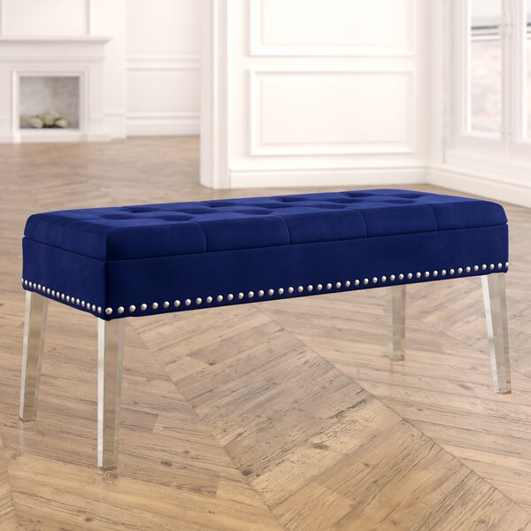 Esmeyer Tufted Mid-Century Nailhead Trim Upholstered Flip Top Storage Bench by House of Hampton