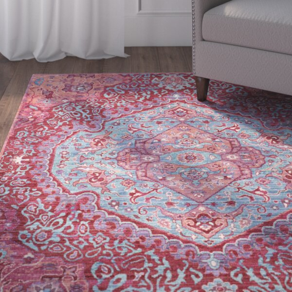 Fields Contemporary Bright Pink/Teal Area Rug by Mistana