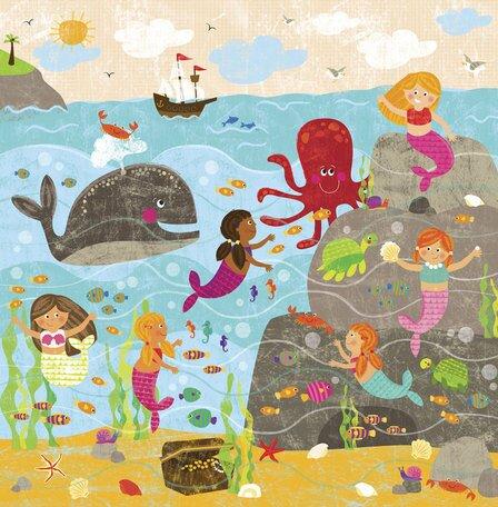 Mermaid Mingle and Play Canvas Art by Oopsy Daisy