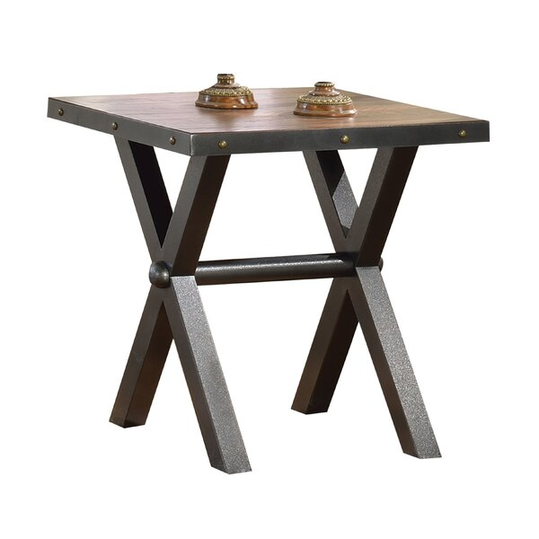Williston Forge Cardenas Metal X Shape Legs Wooden End Table Wayfair