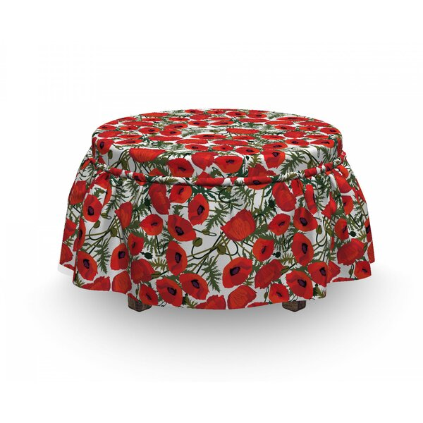 Poppy Garden Foliage Botanical 2 Piece Box Cushion Ottoman Slipcover Set By East Urban Home