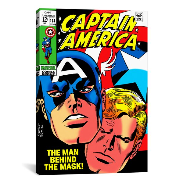Marvel Comics Book Captain America Issue Cover Graphic Art on Wrapped Canvas by iCanvas