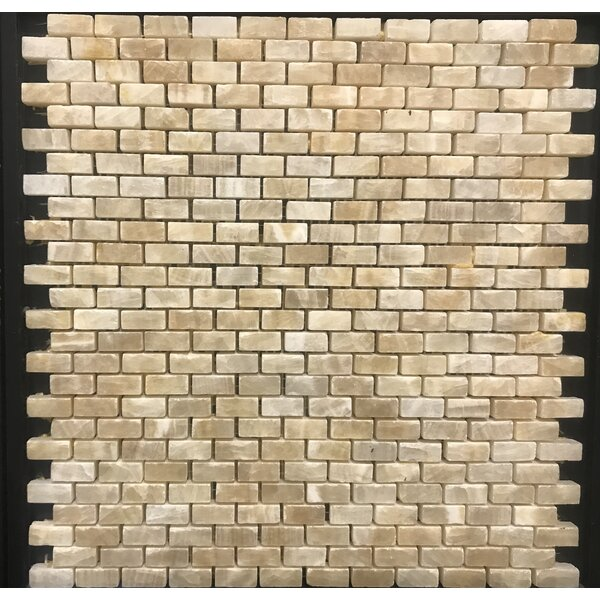 Pompeya Onyx Brick Natural Stone Mosaic Tile in Beige by Kertiles