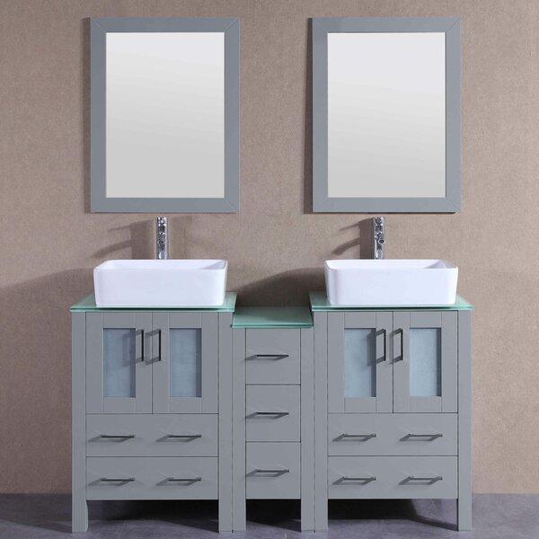 Harris 60 Double Bathroom Vanity Set with Mirror by Bosconi