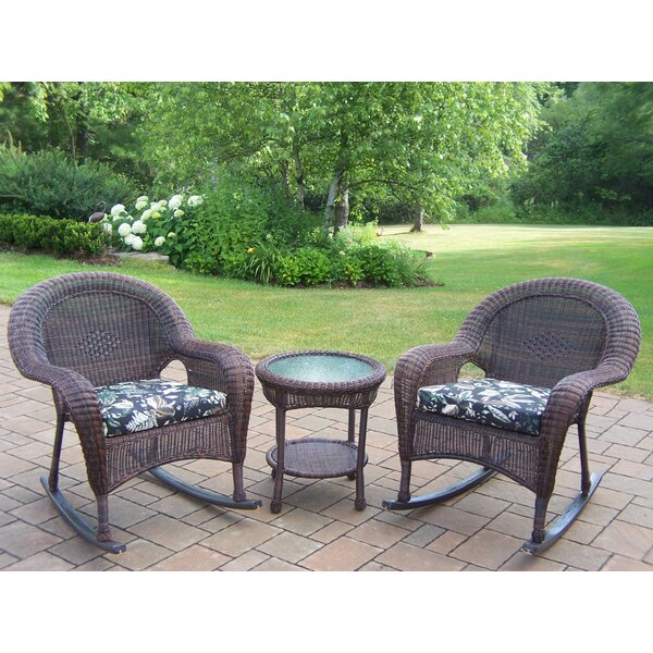 Kingsmill 3 Piece Conversation Set with Cushions by Rosecliff Heights