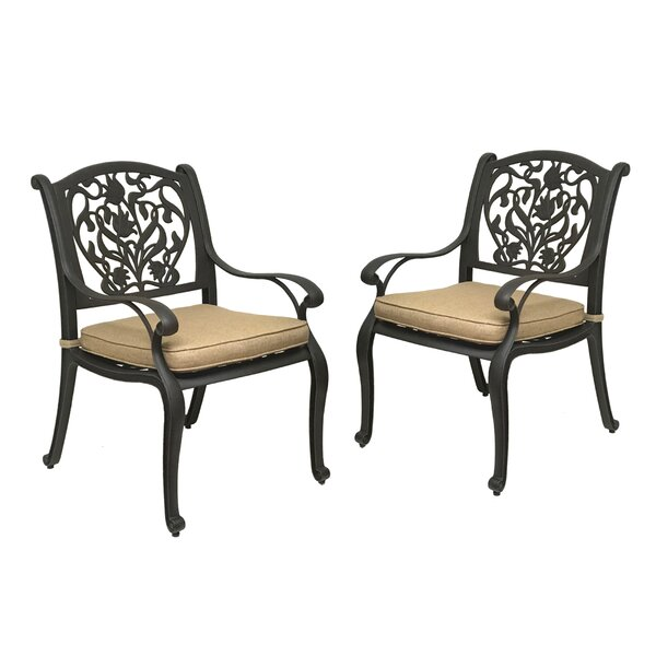 Camptown Patio Dining Chair with Cushion (Set of 2) by Fleur De Lis Living