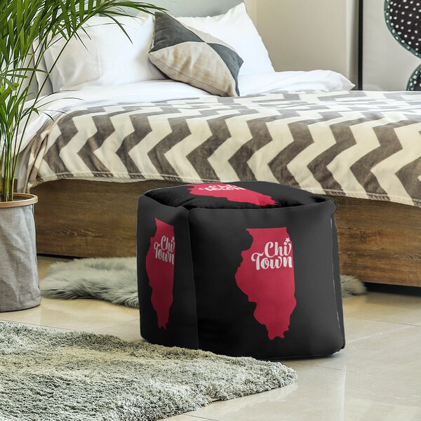 Chi Town Sports Cube Ottoman by East Urban Home East Urban Home