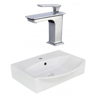 Top Reviews Ceramic U-Shaped Bathroom Sink with Faucet and Overflow By American Imaginations