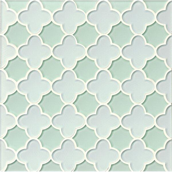 La Palma Glass Flora Mosaic Tile in White / Shoreline by Grayson Martin