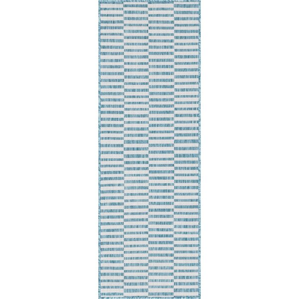 Striped Blue/Ivory Indoor / Outdoor Area Rug