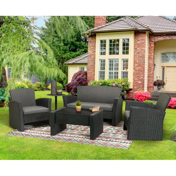 Pacific 4 Piece Rattan Sofa Seating Group with Cushions by Bayou Breeze