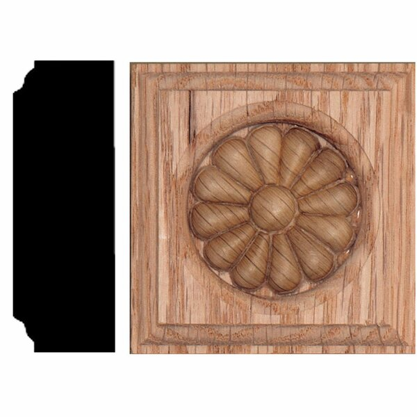 2-1/2 in. x 2-1/2 in. x 7/8 in. Oak Daisy Rosette Block Moulding by Manor House