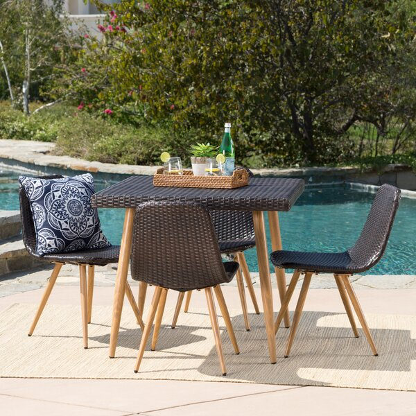 Biondo Outdoor Wicker 5 Piece Dining Set by Ivy Bronx