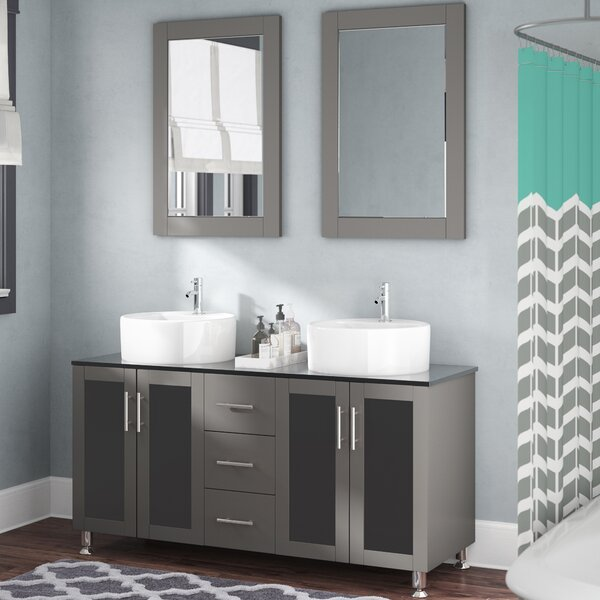 Boswell 60 Double Vanity Set with Mirror by Mercury Row