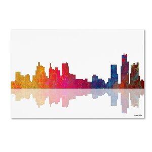 Boston Massachusetts Skyline II by Marlene Watson Graphic Art on Wrapped Canvas by Trademark Fine Art