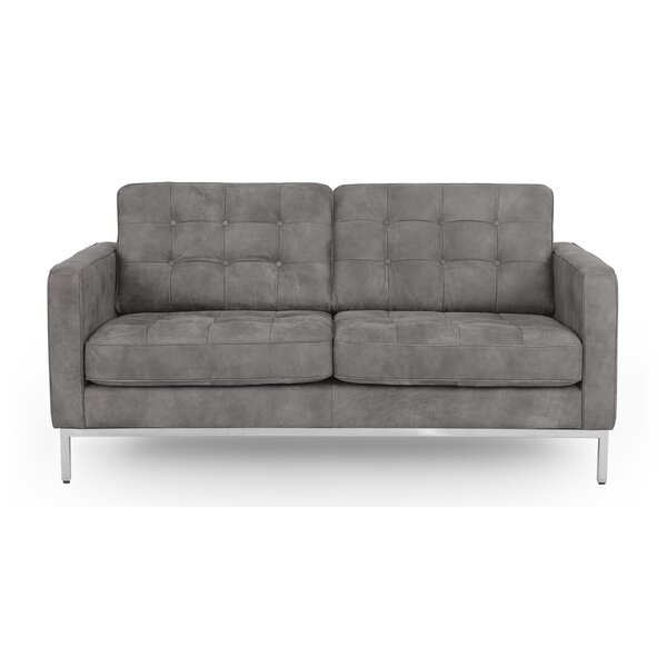 Agostini Mid-Century Leather Loveseat by Corrigan Studio