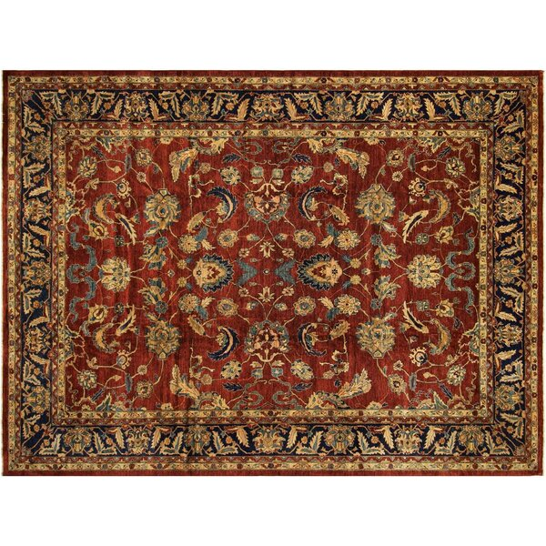 Badham Hand-Knotted Rectangle Wool Red/Blue Oriental Area Rug by Bloomsbury Market