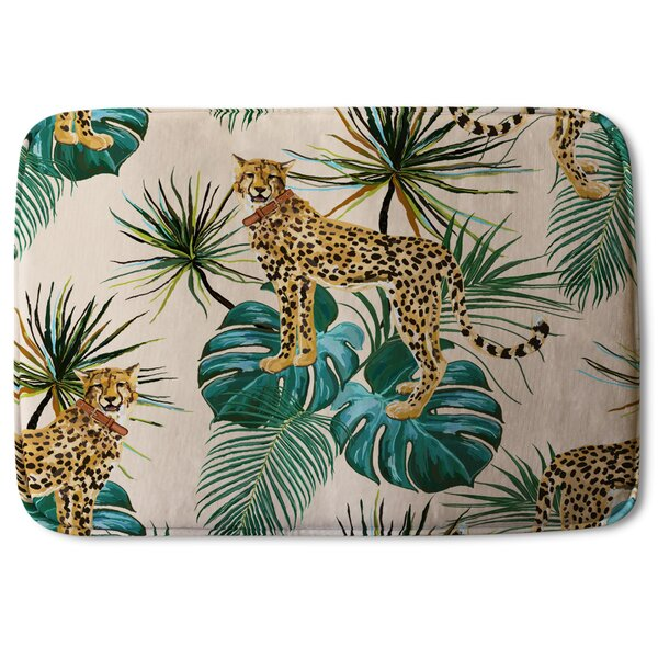 Blawnox Tropical Cheetah Designer Rectangle Non-Slip Floral Bath Rug