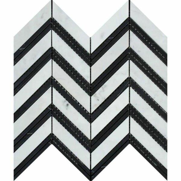 Chevron Sized Marble Chevron Mosaic Wall & Floor Tile