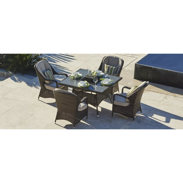 Moeller 5 Piece Dining Set with Firepit and Cushion by Red Barrel Studio