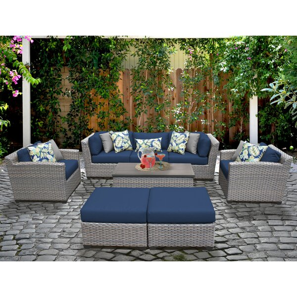 Meeks 8 Piece Sofa Seating Group with Cushions by Rosecliff Heights