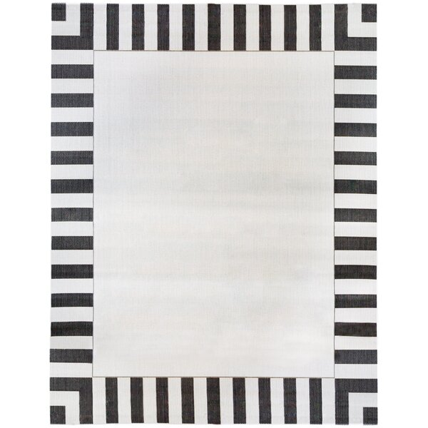 Beebe Stripe Border Flatweave Indoor/Outdoor Area Rug by Wrought Studio