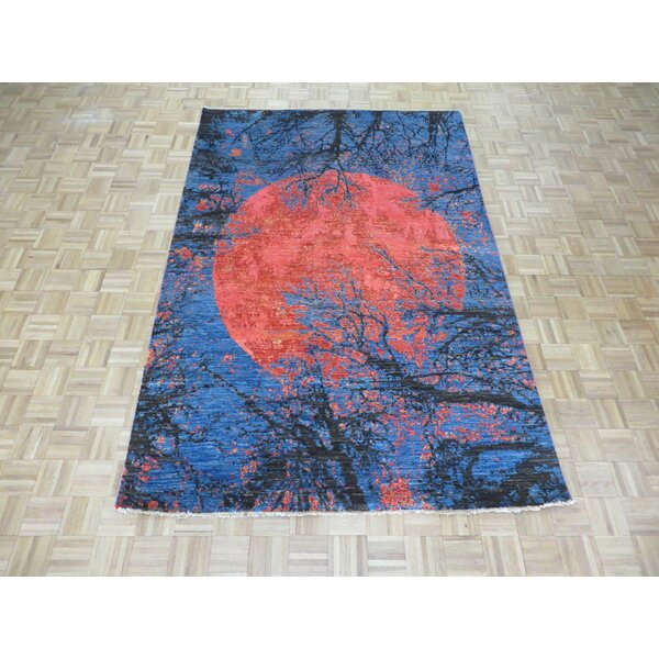 One-of-a-Kind Padang Sidempuan Modern Abstract Hand-Knotted Red/Blue Area Rug by Bloomsbury Market