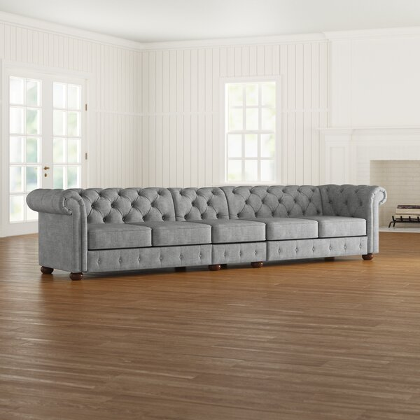 Gowans 5-Seater Button-Tufted Chesterfield Sofa by Three Posts