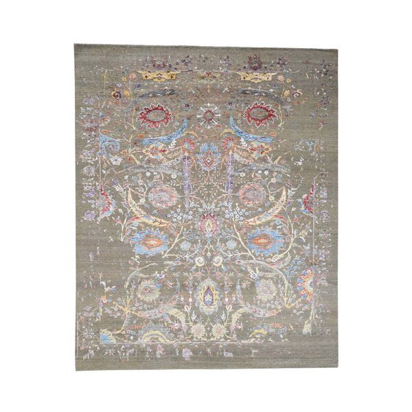 Sickle Leaf Oidized Hand-Knotted Silk Gray Area Rug by Bloomsbury Market