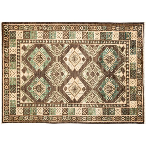 One-of-a-Kind Ersari Hand-Knotted Green Area Rug by Darya Rugs