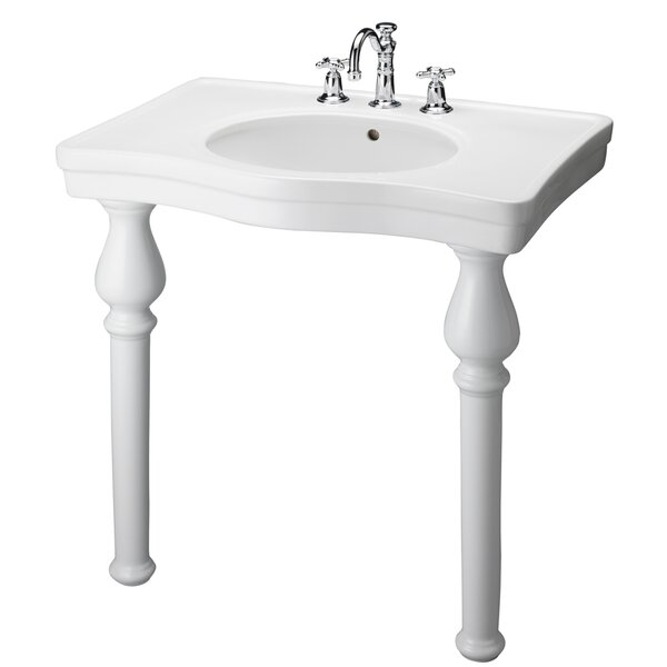 Vitreous China 34 Console Bathroom Sink with Overflow by Barclay