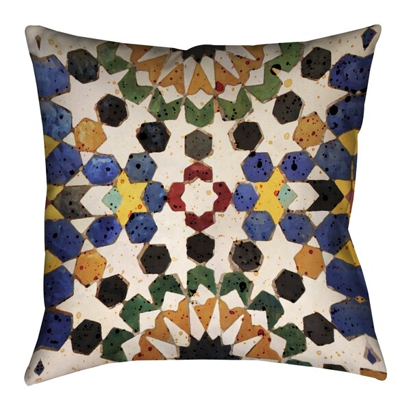 Bradley Spanish Tile Beige/Blue Outdoor Throw Pillow