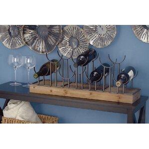Metal/Wood 7 Bottle Tabletop Wine Rack by Cole & Grey