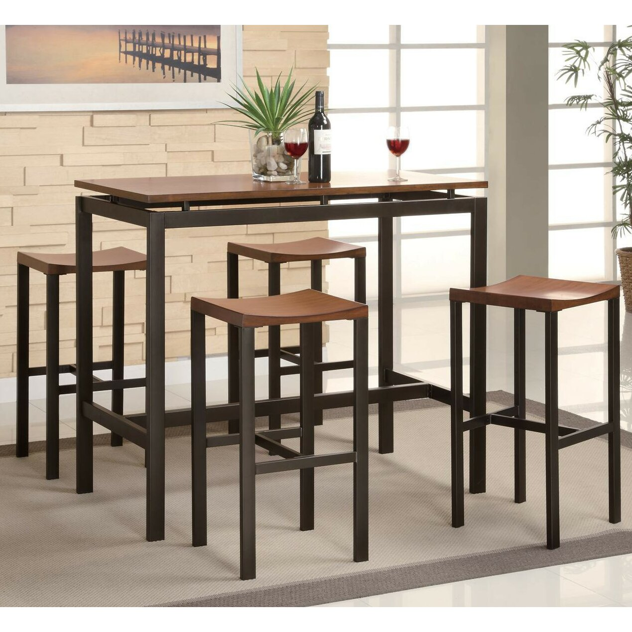 swigart 5 piece pub table set - Kitchen Bar Table Set