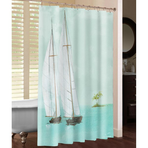 Tropical Sailboats Shower Curtain by Laural Home