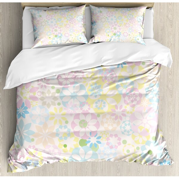 Blossoming Flowers Bedding Plants Spring Botanical Meadow Theme Duvet Set by East Urban Home