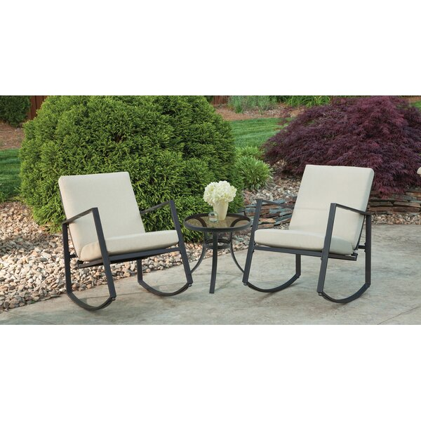 Aurora 3 Piece Cushion Rocking Bistro Set by Liberty Garden Patio Liberty Garden Patio
