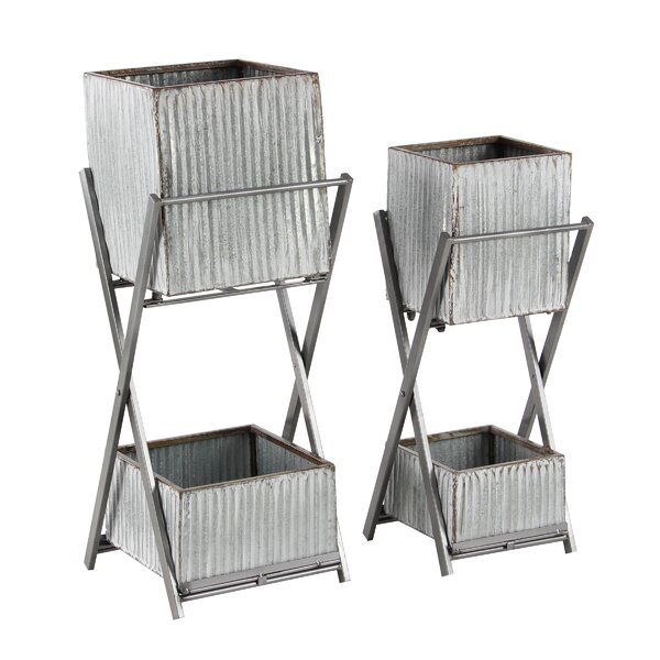 Lacluta Modern Square Double-deck 2 Piece Metal Vertical Garden Set by Williston Forge
