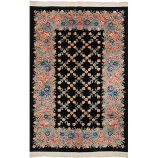One-of-a-Kind Hamblin Traditional Hand-Knotted Wool Black Indoor Area Rug Isabelline