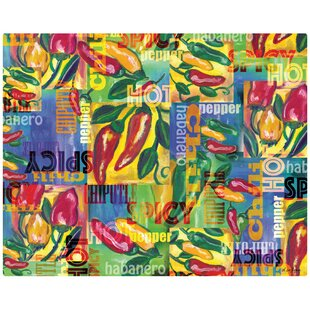 Chili Peppers Collage Non Slip Flexible Cutting Board