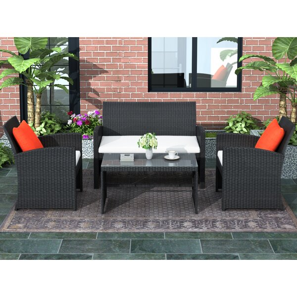 Anamia 4 Piece Rattan Sofa Seating Group with Cushions by Latitude Run