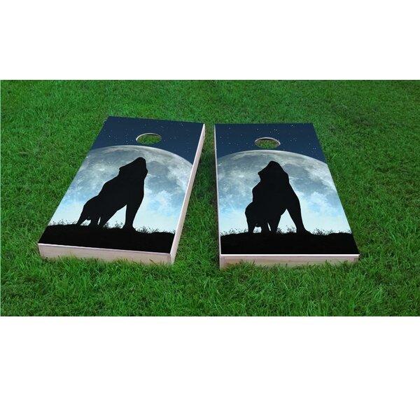 Wolf Howling On Full Moon Light Weight Cornhole Game Set by Custom Cornhole Boards