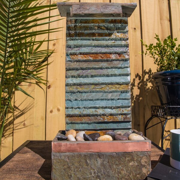 Natural Stone Rapids Table/Wall Fountain with Light by Wildon Home ®