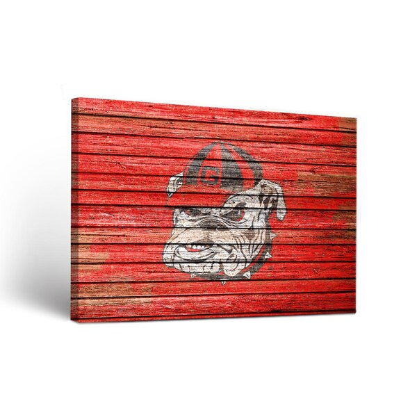 NCAA Georgia Bulldogs Weathered Framed Graphic Art on Wrapped Canvas by Victory Tailgate