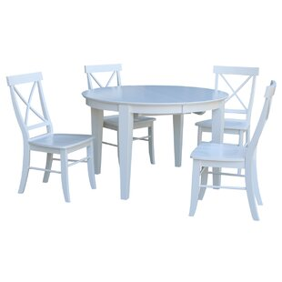 Aston 5 Piece Extendable Solid Wood Dining Set By August Grove