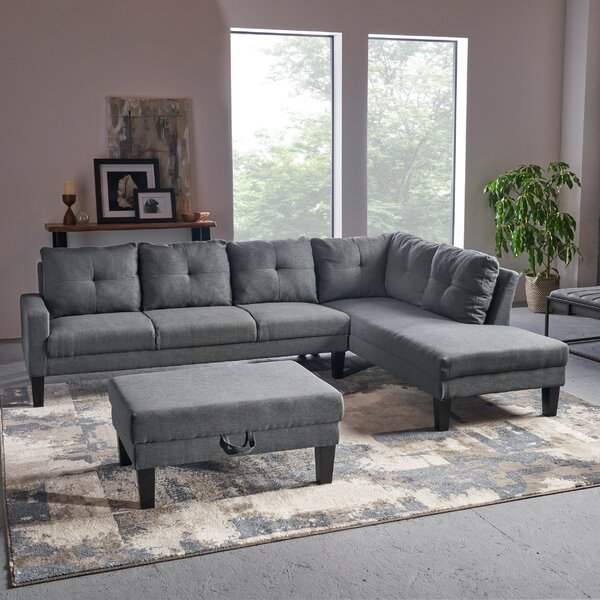 Best Elodia Right Hand Facing Sectional With Ottoman