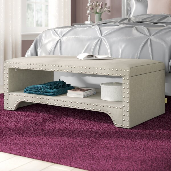 Review Clarke Upholstered Wood Shelves Storage Bench