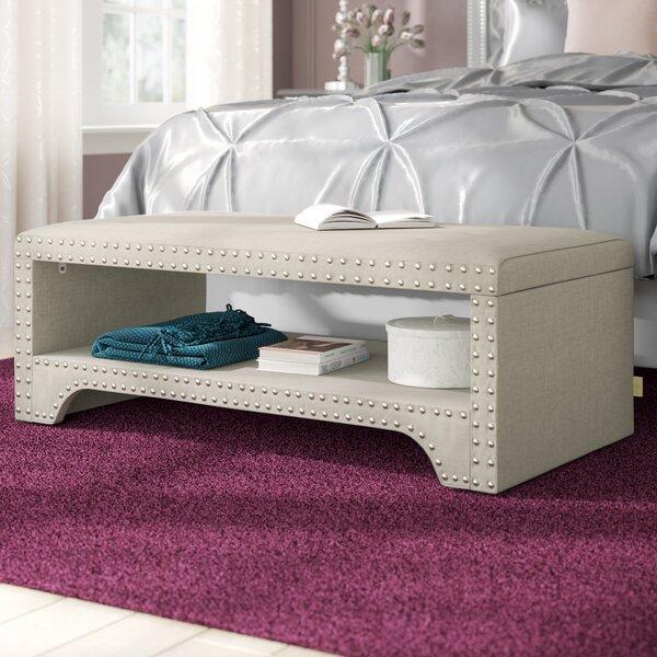 Discount Clarke Upholstered Wood Shelves Storage Bench
