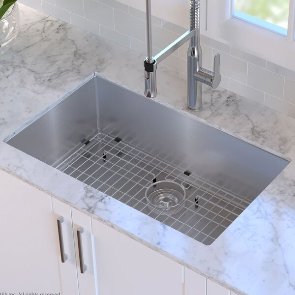 30 x 18 Undermount Kitchen Sink with Sink Grid and Drain Assembly by Kraus